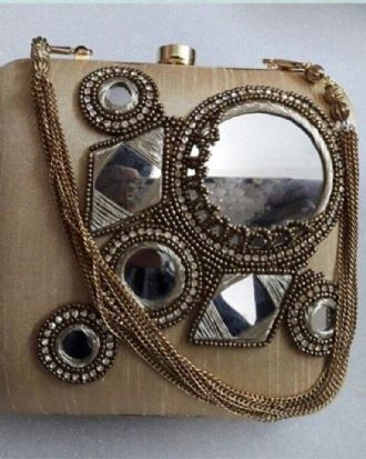 Gold Mirror Work Clutch